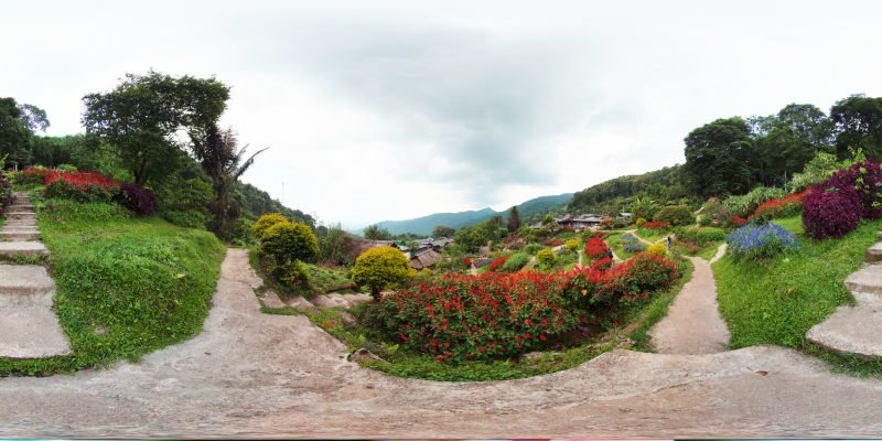 Flower Garden at the Hmong Village of Doi Pui May 2015 Panorama Panorama Preview