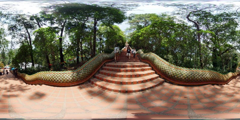 Wat Prathat Doi Suthep Stairs Up May 2015 Panorama Preview