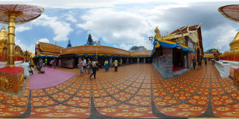 Wat Prathat Doi Suthep Chedi South-Western Corner May 2015 Panorama Preview