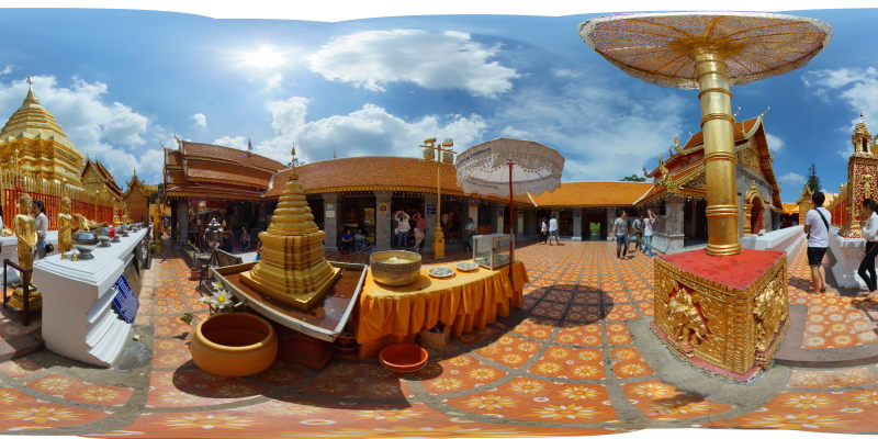 Wat Prathat Doi Suthep Chedi in Sunny Weather Panorama 2015 Panorama Preview