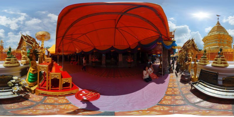 Wat Prathat Doi Suthep Chedi with Butterfly Panorama Preview